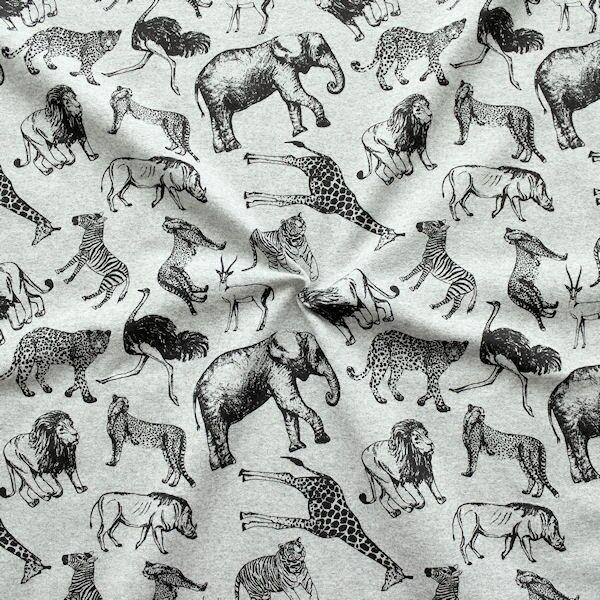 "Sweatshirt Baumwollstoff French Terry ""Afrikas Tiere"" Farbe Grau meliert"