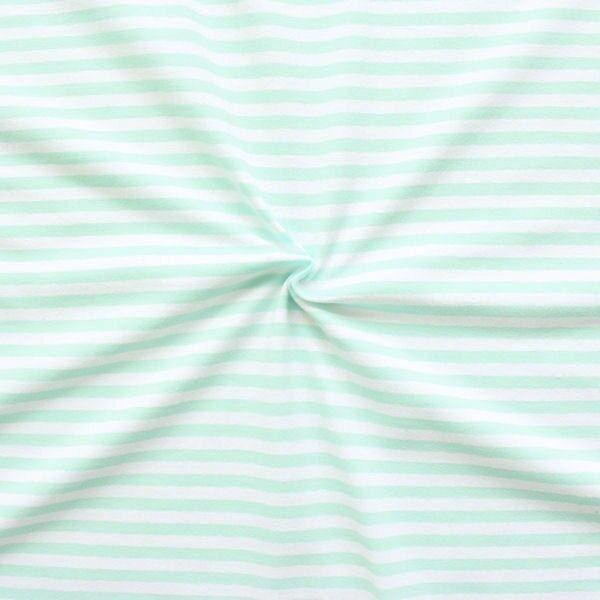 Baumwoll Stretch Jersey Ringel Streifen Weiss-Mint