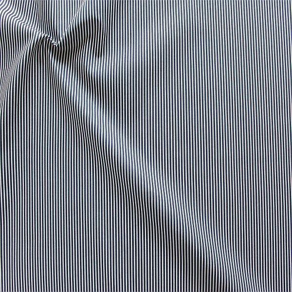Baumwollstoff Längsstreifen fein Navy-Blau Weiss