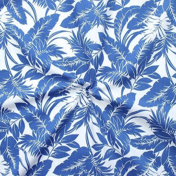 100% Baumwolle Popeline Hawaii Palmen Royal-Blau