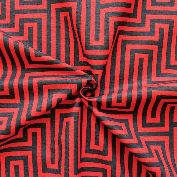 "Dekostoff Breite 280cm ""Labyrinth"" Farbe Rot-Schwarz"