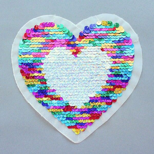 Wendepailletten Patch Herz Multicolor-Silber