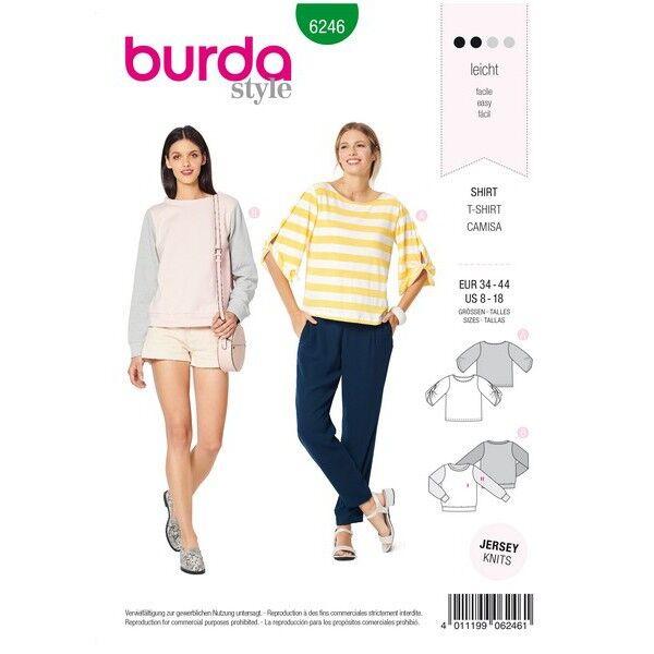 Shirt – Sweatshirt – runder Ausschnitt – verschlungene Ärmel, Gr. 34 - 44, Schnittmuster Burda 6246