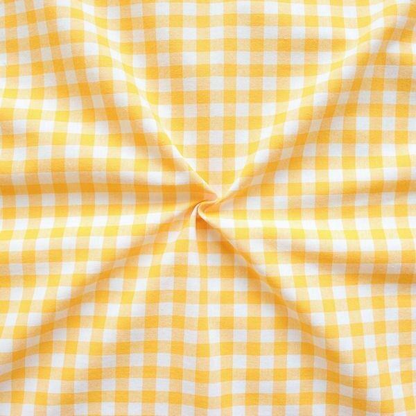 100% Baumwollstoff Züchen Vichy Karo groß Farbe Gelb-Weiss