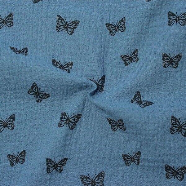 """100% Baumwolle Musselin Double Gauze """"Schmetterlinge 13"""" Farbe Tauben-Blau"""