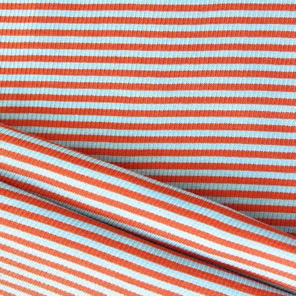 "Baumwoll Bündchenstoff ""Ringel"" Farbe Hell-Blau Orange"