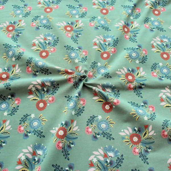 Sweatshirt Baumwollstoff Blumenbukett Grau-Grün