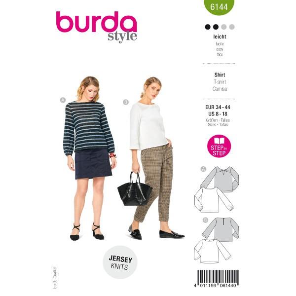 Shirts mit Details, Gr. 34 - 44 Schnittmuster Burda 6144