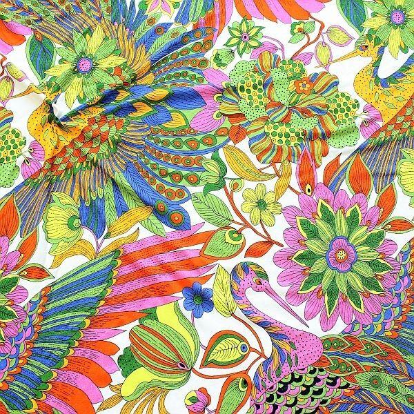 Viskose Stretch Jersey  Hippie Fantasy Weiss-Multicolor