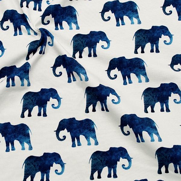 Baumwoll Stretch Jersey Elefanten Weiss-Grau