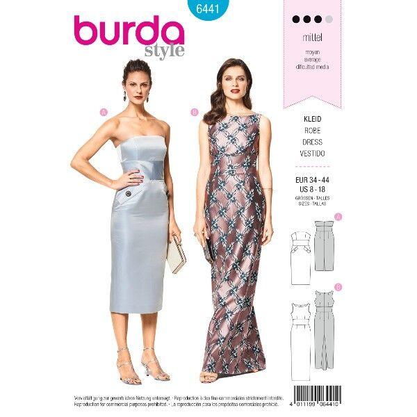 Corsagenkleid – Abendkleid – rückw. Godet, Gr. 34 - 44, Schnittmuster Burda 6441