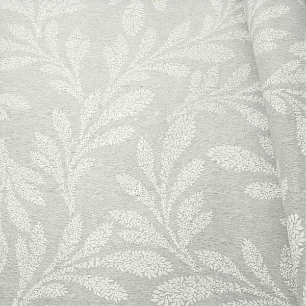 Dekostoff Blätter XXL Silber-Grau meliert