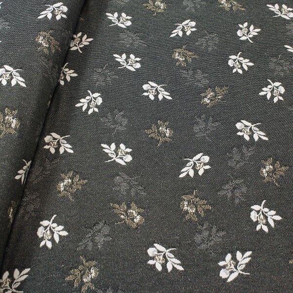 Jacquard Dekostoff Doubleface Blütenzweige Anthrazit-Beige