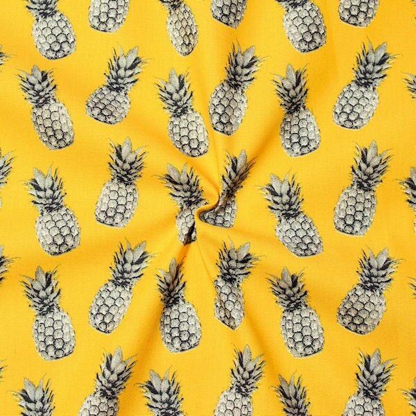 100% Baumwolle Popeline Ananas Gelb