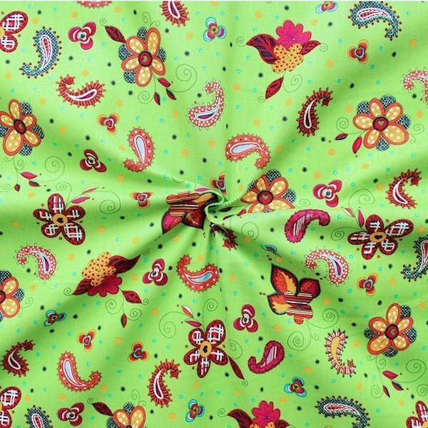 "100% Baumwollstoff ""Flowers & Paisley"" Farbe Lind-Grün"