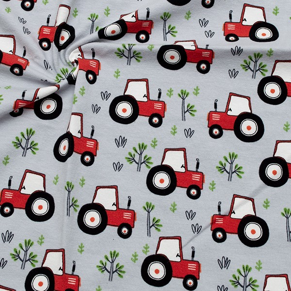 Baumwoll Stretch Jersey Rote Traktoren Hell-Grau