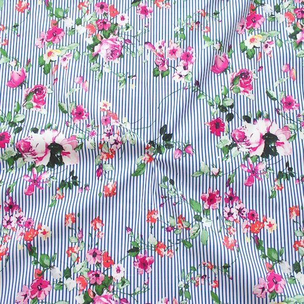 """Stretch Baumwolle Popeline """"Blumenranken & Streifen"""" Farbe Fuchsia"""