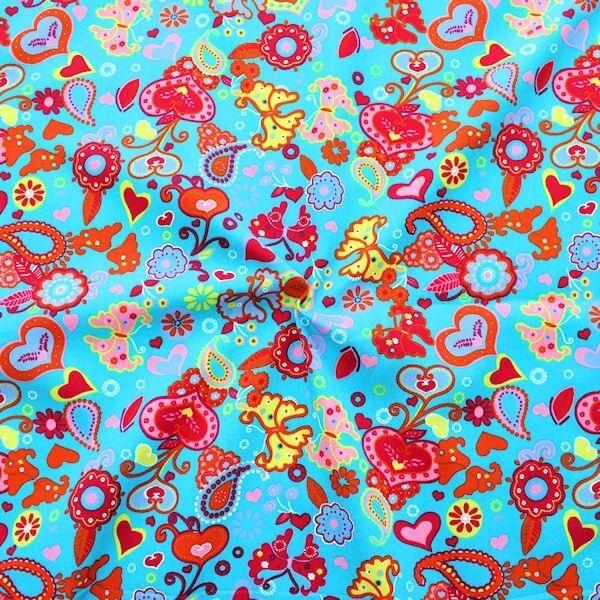 """100% Baumwolle Popeline """"Heartbeat Butterfly Mix"""" Farbe Capri-Blau"""