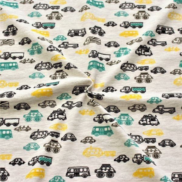 Baumwoll Stretch Jersey Kleine Autos Beige meliert