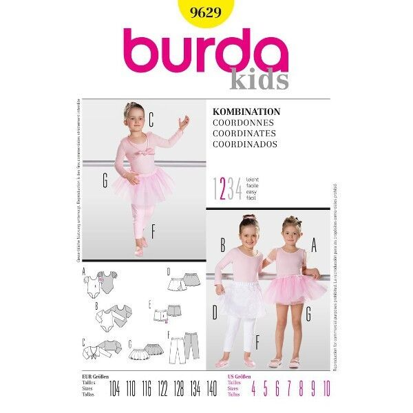 Body, Ballettrock, Leggings, Gr. 104 - 140, Schnittmuster Burda 9629