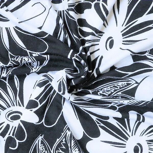Viskose Stretch Jersey  Blüten Dunkel-Blau Weiss