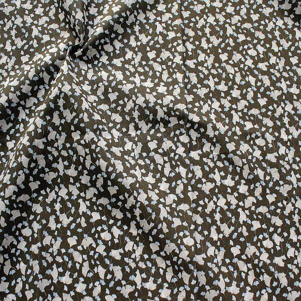 Baumwollstoff Ginkgo Blätter Mix Dunkel-Grau