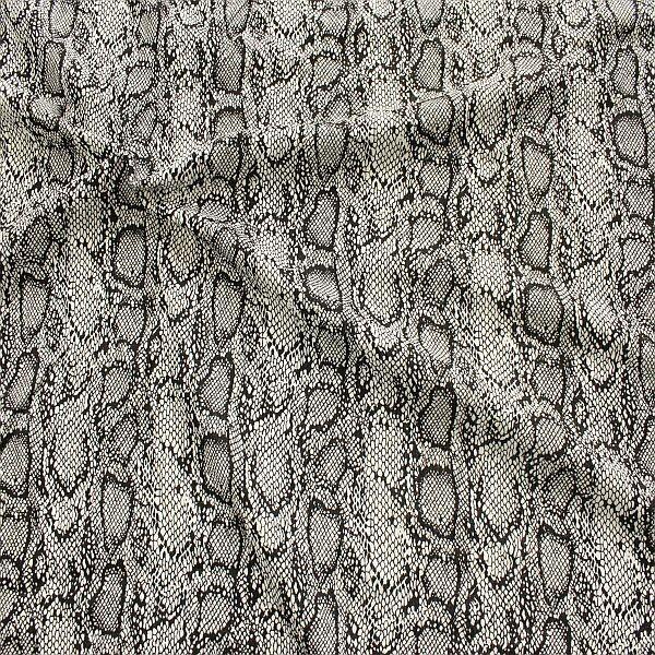 Polyester Stretch Jersey Snake Schwarz-Ecru