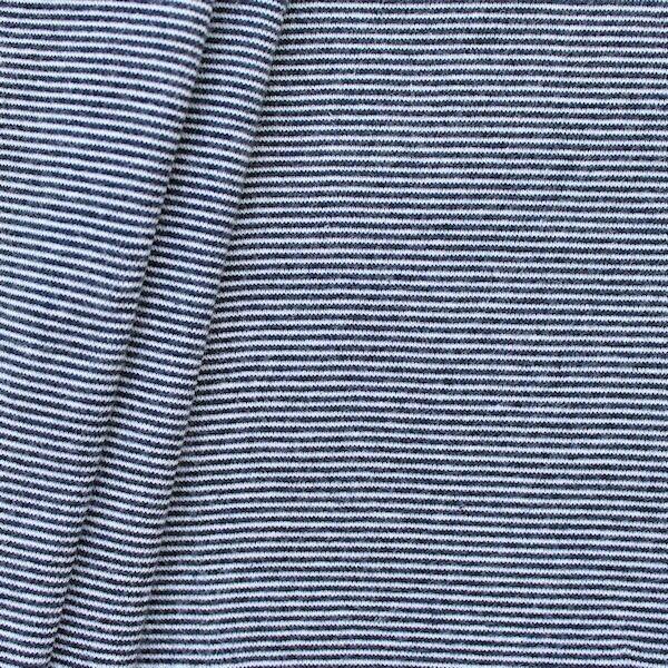 Baumwoll Bündchenstoff Ringel Mini glatt Dunkel-Blau Weiss