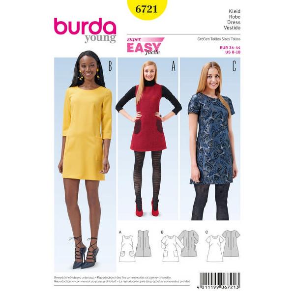 Kleid, Trägerkleid ausgestellt – aufgesetzte Taschen, Gr. 34 - 44, Schnittmuster Burda 6721
