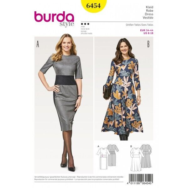 Kleid – Hüftblende –  schmaler Rock –  Glockenrock, Gr. 34 - 44, Schnittmuster Burda 6454