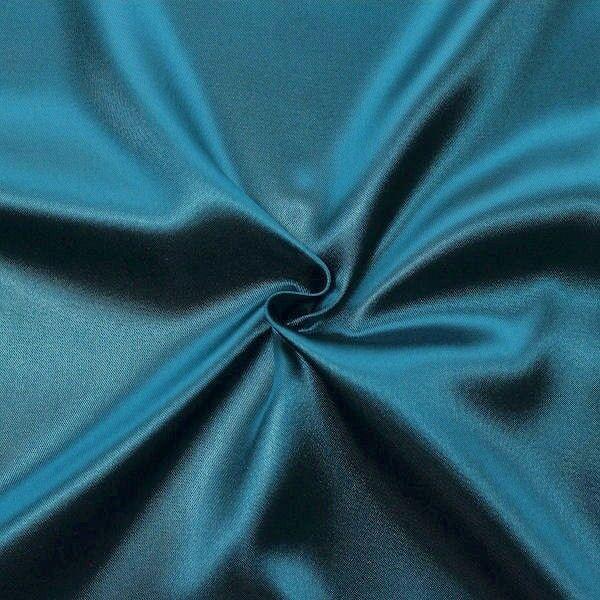 Satin Stoff Petrol-Blau