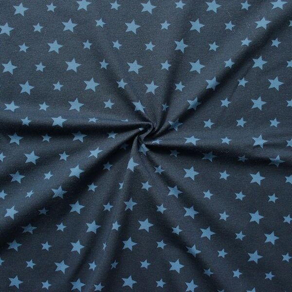 Baumwoll Stretch Jersey Sterne Mix Dunkel-Blau