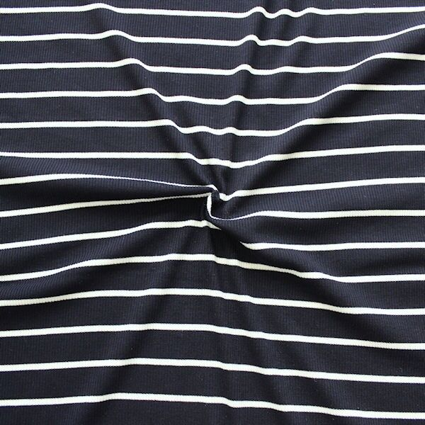 Cotelé Viskose Jersey Rippstrick Optik Streifen Navy-Blau Creme