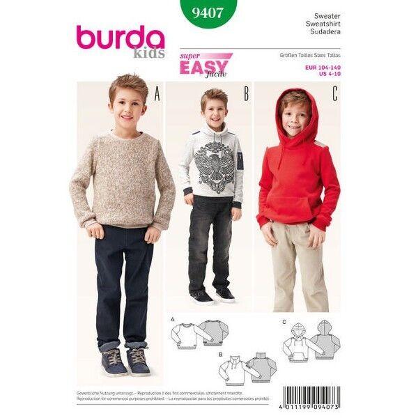 Sweater – Pulli – Hoody, Gr. 104 - 140, Schnittmuster Burda 9407