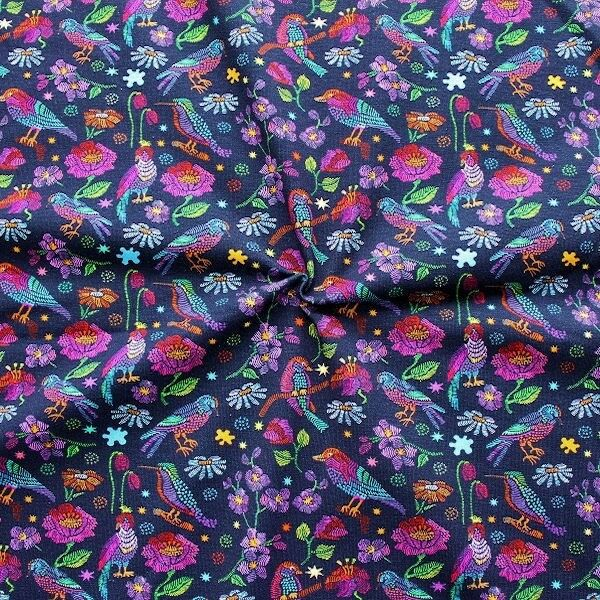"Baumwoll Stretch Jersey Digital Druck ""Birds & Flowers 3"" Farbe Dunkel-Blau"