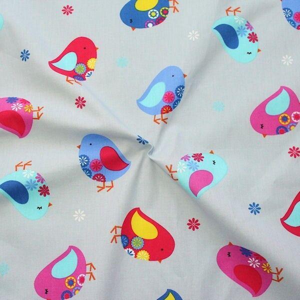 """100% Baumwolle Popeline """"Little Birds"""" Farbe Hell-Grau"""
