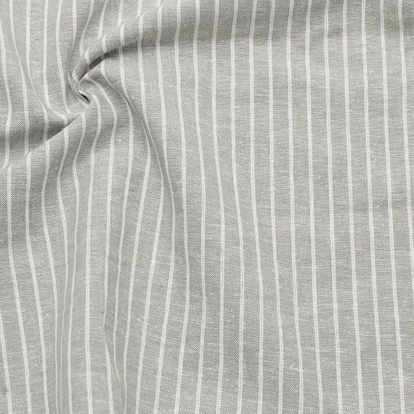 Leinen-Baumwolle Streifen Hell-Grau
