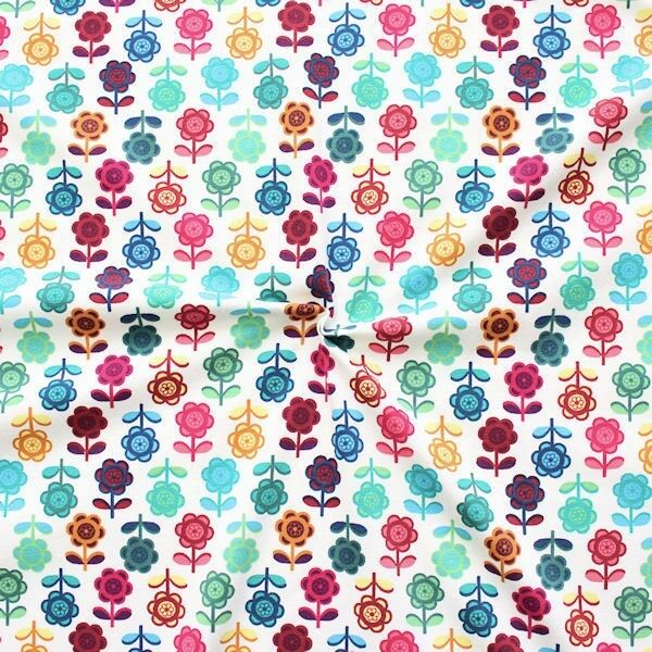 Baumwoll Stretch Jersey Blumen Reihen Weiss