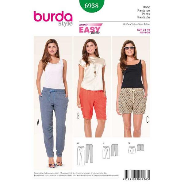 Gummizughose – Bermudas – Shorts, Gr. 32 - 46, Schnittmuster Burda 6938