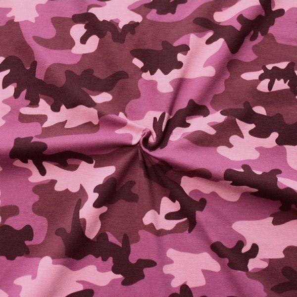 "Baumwoll Stretch Jersey ""Camouflage 3"" Farbe Violett"