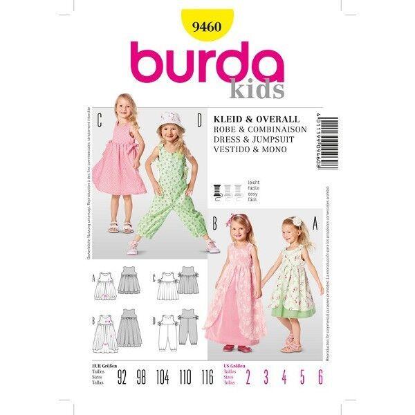 Kleid mit Überrock und Overall, Gr. 92 - 116, Schnittmuster Burda 9460