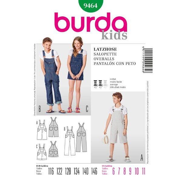 Burda 9464 Schnittmuster für Latzhose in drei Varianten und mit verschiedenen Taschen für Mädchen und Jungen
