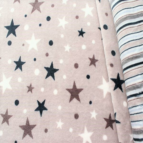 Wellness Fleece Doubleface Sterne Punkte Streifen Taupe