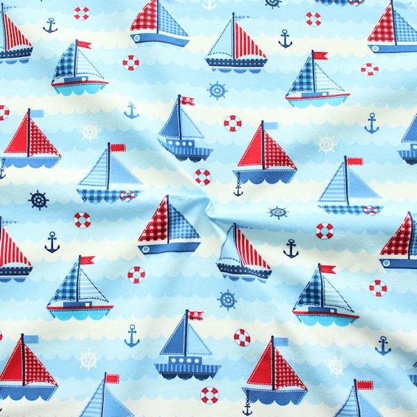 Baumwoll Stretch Jersey Segelboote Blau-Weiss-Rot