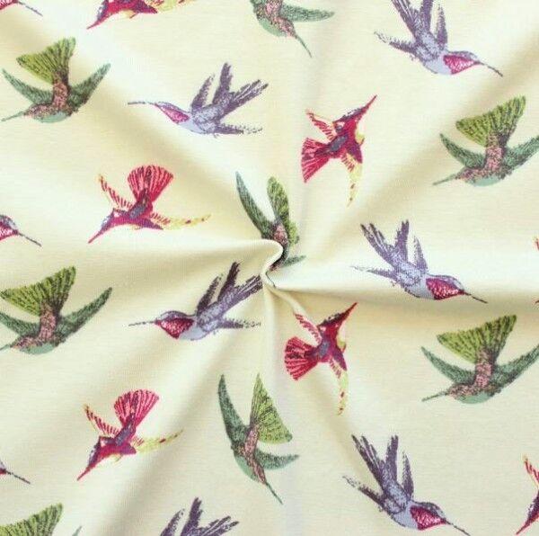 Baumwoll Stretch Jersey Kolibris Creme-Weiss