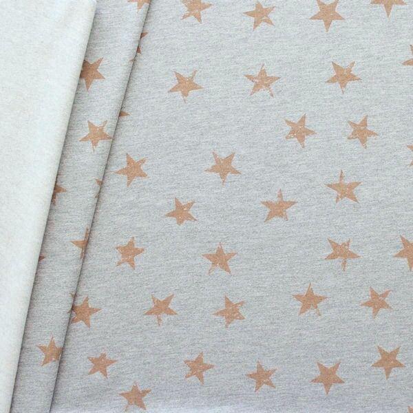 Sweatshirtstoff Sterne Used Look Grau meliert Braun