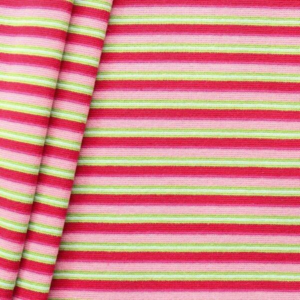 "Baumwoll Bündchenstoff ""Ringel Mix glatt"" Farbe Rosa-Rot-Grün"