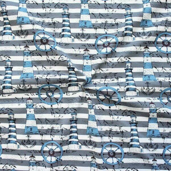 Baumwoll Stretch Jersey Streifen Nautic Mix Grau-Weiss