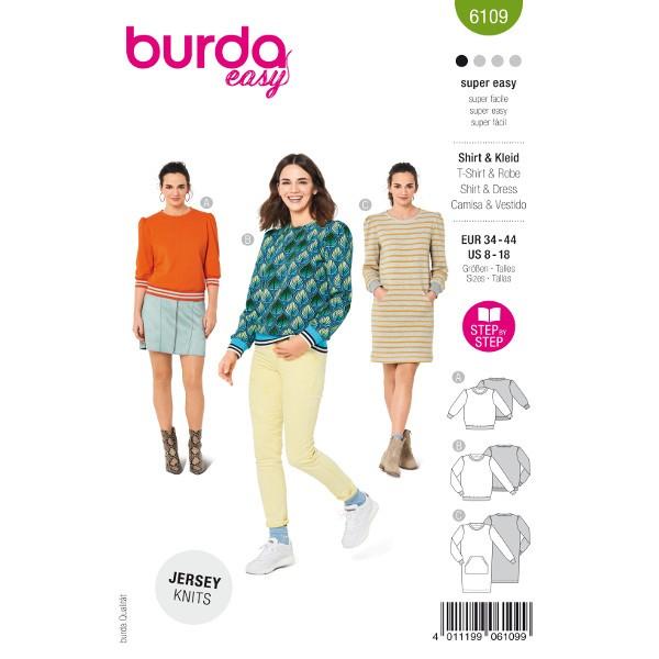 Bequeme Sweatshirts / Kleid mit Känguru-Tasche, Gr. 34 - 44 Schnittmuster Burda 6109