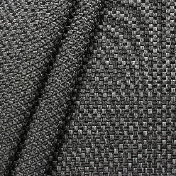 Polster- Möbelstoff Flechtoptik klein Anthrazit-Schwarz